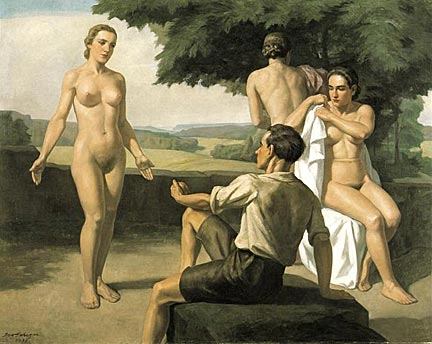 """Judgment of Paris"" - Ivo Saliger. Oil on canvas. Circa 1938-1939."