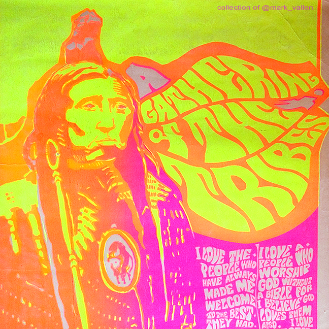 """A Gathering Of The Tribes."" Detail. Anonymous artist circa 1967. Silkscreen."