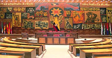 """Imagen de la Patria"" (Image of the Mother Country) - Oswaldo Guayasamín. Mural. 1987-1988. Mounted in the Republic of Ecuador Legislative Palace (Congress). The multi-panel acrylic mural is supported by an aluminum superstructure and offers a pictorial history of the Republic."