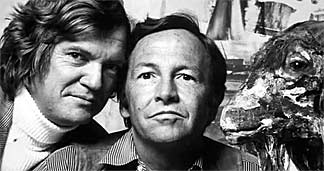 Screen capture of Robert Hughes and Robert Rauschenberg from The Mona Lisa Curse.