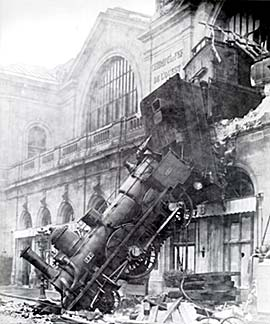 Photograph of the 1895 train wreck at the Gare Montparnasse train station in Paris. Photo by Studio Lévy & fils.