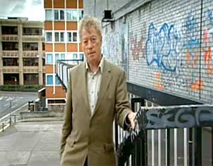 "Roger Scruton in his now blighted hometown of Redding, near London. He tells us that: ""Beauty is assailed from two directions, by the cult of ugliness in the arts, and by the cult of utility in everyday life. These two cults come together in the world of modern architecture."" Screen capture from ""Why Beauty Matters."""