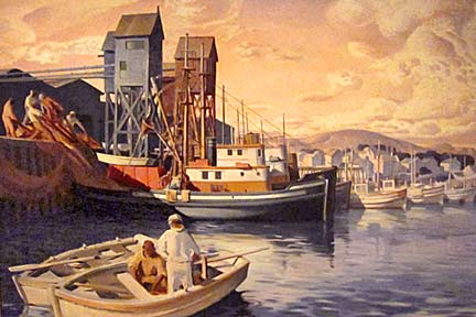 Terminal Island Fish Harbor – Millard Sheets. 1935. Oil on canvas. Here the artist gives us a glimpse of the traditional West coast fishing industry as it existed at Terminal Island in San Pedro, California before the outbreak of WWI.