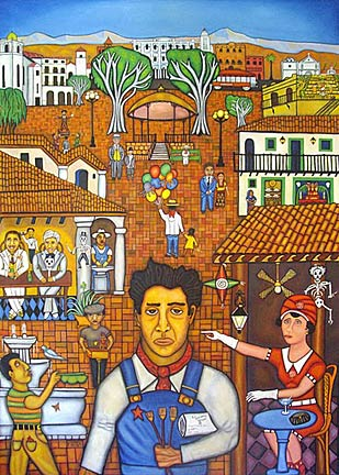 Siqueiros in Calle Olvera – Peter Wood. 2008. © All rights reserved. Oil on canvas. 7 x 5 ft.