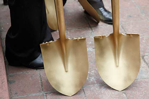 Golden shovels used at the Sept. 8, 2010 groundbreaking ceremony for the Siqueiros Mural and Interpretive Center on L.A.'s historic Olvera Street. Photo by Mark Vallen ©.