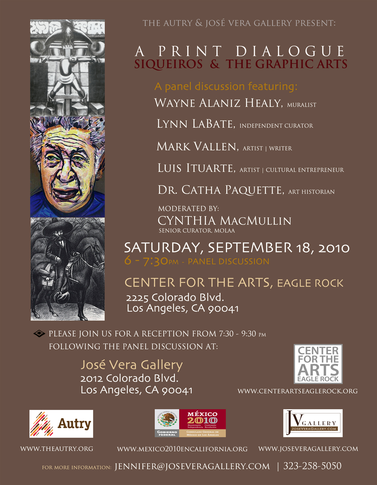 Invitation card to Siqueiros panel discussion