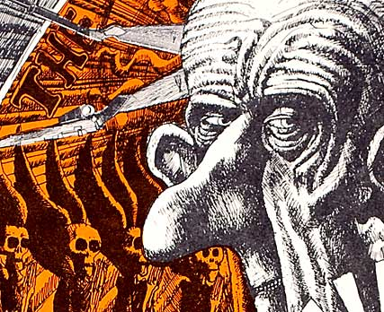 """The Madonna of the Napalm"" – Martin Sharp. Offset poster. U.S. President Johnson is depicted in this poster detail."