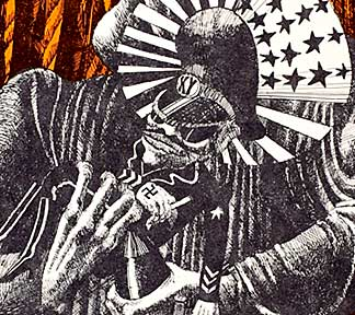 """The Madonna of the Napalm"" – Martin Sharp. Offset poster. Nguyen Cao Kỳ is depicted in this poster detail. Kỳ served as Prime Minister of South Vietnam from 1965 to 1967, then served as Vice President until 1971."