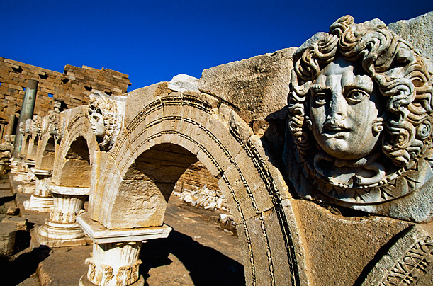 Roman Ruins at Leptis Magna, Libya. The site is considered to be the most well-preserved ancient Roman city in the Mediterranean. Photograph: Doug McKinlay/Getty Images