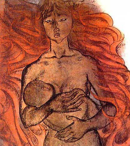 A young mother with her baby engulfed in atomic fire. Detail from the Hiroshima Panels by Iri and Toshi Maruki