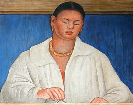 "Rivera's portrait of artist Marion Simpson, a detail from Rivera's ""The Making of a Fresco"". Photo/Mark Vallen ©"