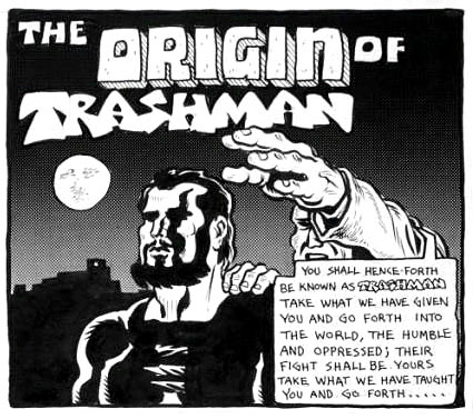 """The Origin of Trashman"" - Spain Rodriquez. 1970. Pen and ink. Page one from Subvert Comics #1."