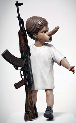 """Yin"" - Chapman Brothers. Painted sculpture with decommissioned Kalashnikov rifle. 2012."
