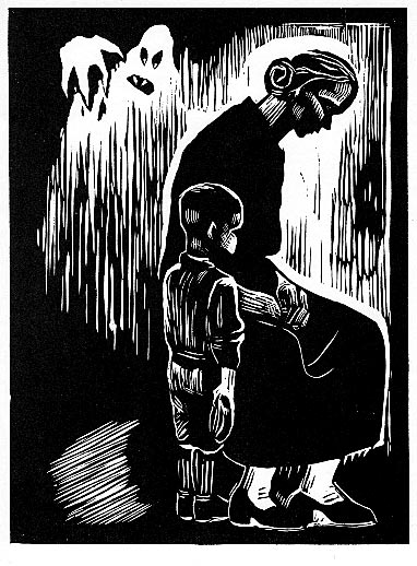 """Black Legion Widow"" - Maurice Merlin. Linocut. 8 x 6 in. 1936. In this linoleum cut, Merlin depicted the widow Rebecca Poole, whose husband Charles Poole, had been assassinated in Detroit, Michigan on May 13, 1936 by the Black Legion terror group."