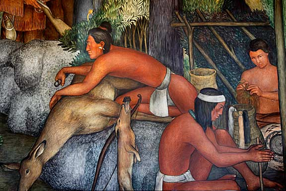 Arnautoff's vision of the Ohlone people, the indigenous tribe of the San Francisco Bay Area. The artist no doubt studied the paintings, drawing, and lithographs of Louis Choris, who first depicted the Ohlone in his 1816 artworks. Photo by Mark Vallen .
