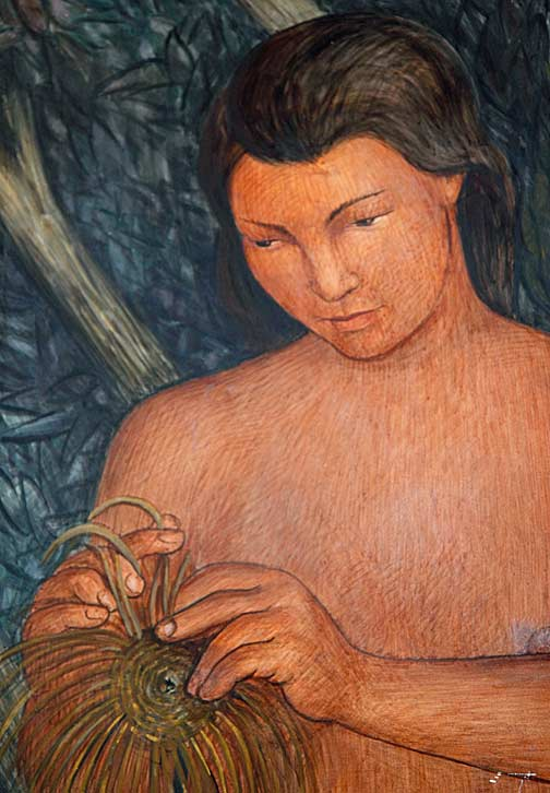 In this detail Arnautoff depicted an Ohlone woman at work weaving baskets from tule reeds. Photo by Mark Vallen ©.