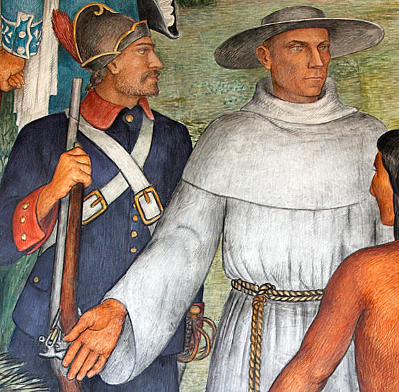 Arnautoff's mural depicting a Spanish soldier and priest from the earliest years of the Presidio's founding. Does the priest's gesture welcome or bar the indigenous Ohlone warrior? Photo by Mark Vallen .