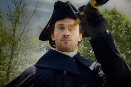 "A postmodern Paul Revere. Screenshot from Fiat's ""Italian Invasion"" commercial."