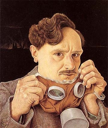 """Self Portrait with Gasmask"" - Barthel Gilles. Oil on canvas, 19.5 × 15.5 inches. 1930. Collection of Suermondt-Ludwig Museum in Aachen."