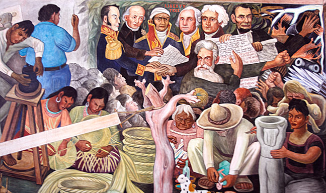 "The ""Elements from Past and Present"" portion of Rivera's ""Pan American Unity"" mural at City College of San Francisco. Photograph by Mark Vallen ©"