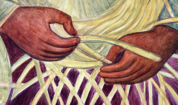 These hands belong to the indigenous basket weaver that sits next to the figure described in the above. Rivera's mural contains thousands of engaging details both diminutive and sizeable; this is one of my favorite small details. Here Rivera utilized a spare realism, but imbued it with a sense of motion; one can almost hear the sound of rattan being manipulated by the agile hands of the basket weaver. The background to the sensitively painted hands is marvelously painted in greens and purple, and one can see how thinly and rapidly Rivera painted. Photograph by Mark Vallen ©
