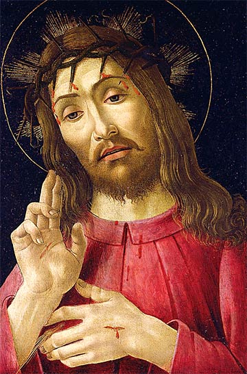 """The Resurrected Christ"" - Sandro Botticelli. 1480. Paint on wood panel. 18 x 11 3/4 inches. Collection of the DIA."