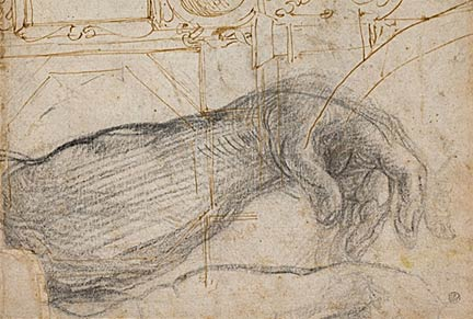 "Detail from ""Scheme for the Decoration of the Ceiling of the Sistine Chapel"" - Michelangelo. 1508. Pen and brown ink and black chalk on cream laid paper. 14 11/16 x 9 7/8 in. Collection of the DIA."