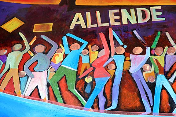 "Detail of ""Tribute to Allende"" mural in Chicano Park. Photograph by Mark Vallen ©"