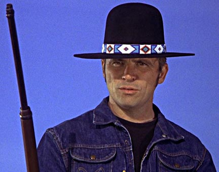 "Tom Laughlin as the character, Billy Jack. Screen shot from Laughlin's 1971 movie, ""Billy Jack."""