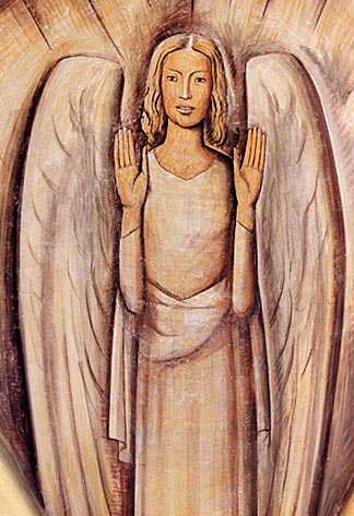 Detail of the mural from the Chapel of the Santa Barbara Cemetery. Alfredo Ramos Martínez. 1934. One of four Angels painted in the dome above the chapel's Altar. Photograph by Mark Vallen ©.