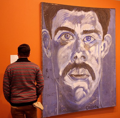 Self-Portrait in Blue - Roberto Chavez. Oil on panel. 1963. Photo by Mark Vallen ©.