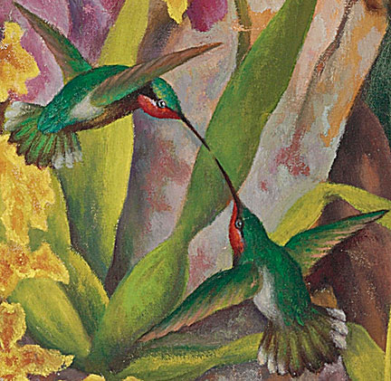 "Detail of hummingbirds from Diego Rivera's remarkable 1947 oil painting, ""Portrait of Linda Christian."""