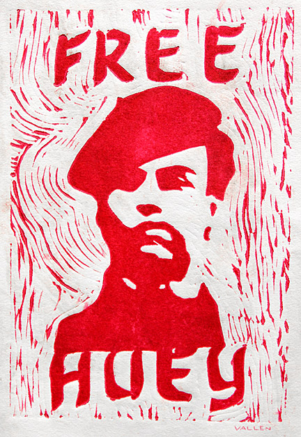 """Free Huey"" - Mark Vallen 1968 © Color linoleum print. 6 x 8 inches."