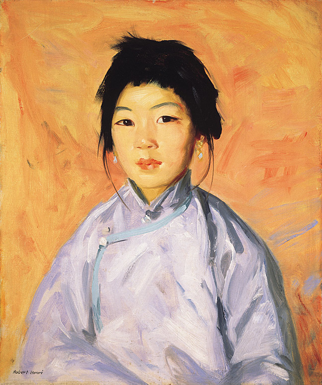 Tam Gan - Robert Henri. Oil on canvas. 1914. Portrait of a young Chinese girl living in San Diego, California. Image courtesy of the Laguna Art Museum.