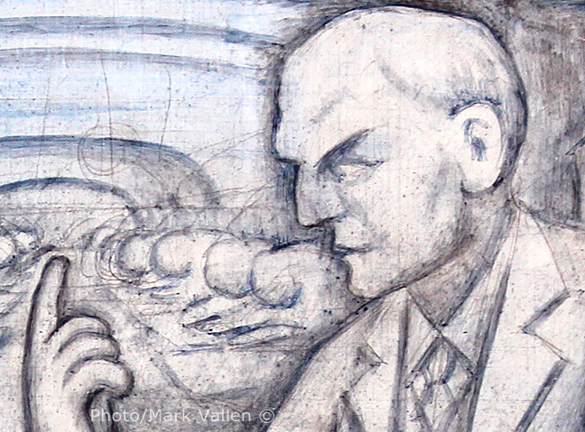 A close-up view of Henry Ford reveals how quickly Rivera worked on these panels. Beneath the deftly applied washes of water-based pigments one can see the charcoal outlines of the original sketch on wet plaster.