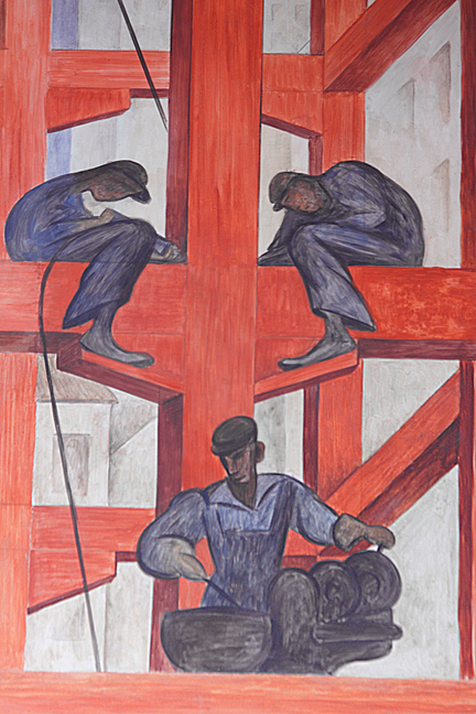 In this mural detail Diego Rivera depicted steel workers constructing a modern skyscraper. Photo/Mark Vallen © 2011.
