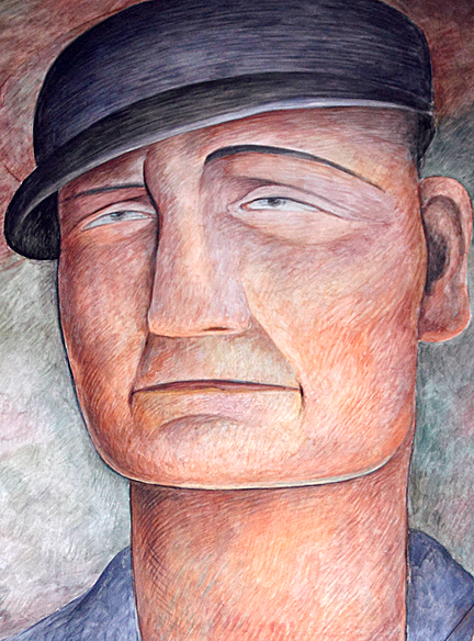 This mural detail shows a monumental worker representing the working class - Diego Rivera. Fresco mural. 1931. Photo/Mark Vallen © 2011.