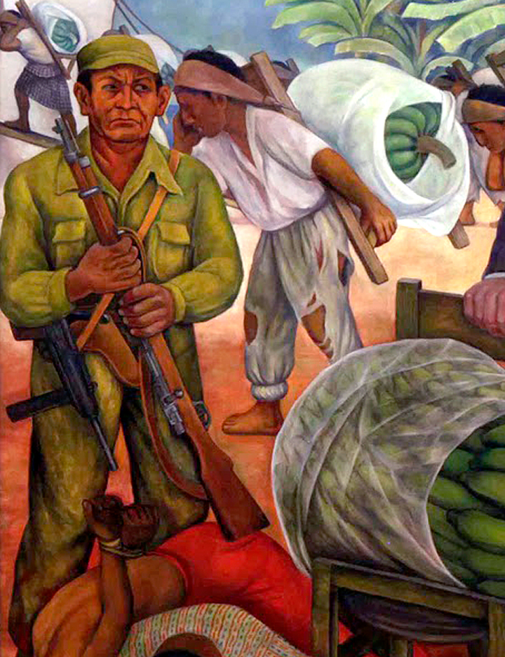 "Detail from Rivera's ""Gloriosa Victoria."" A heavily armed soldier from the U.S. backed coup, watches indigenous Maya working for the neocolonial American corporation, the United Fruit Company."