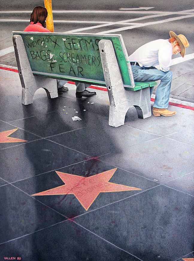 """Hollywood Blvd., We're Doomed"" - Mark Vallen 1980 ©. Color pencil on paper 22""x29"" inches. ""The decaying urban landscape of Tinseltown in the late 1970s, before it was transformed by waves of gentrification that began in the 1990s."""