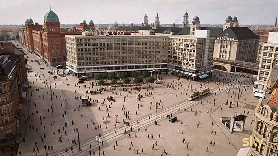 The digital recreation of Berlin's Alexanderplatz from Babylon Berlin.