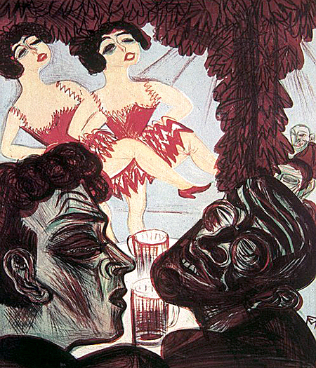 """Im Kabarett"" (In the Cabaret). Conrad Felixmüller, Color lithograph. 1921."
