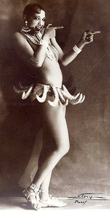 The American dancer Josephine Baker in her Banana Skirt at the Folies Bergère in Paris, 1927. Photo by Lucien Waléry.