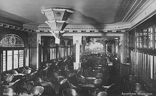 This historic photo is an interior shot of the real Moka Efti, showing the nightclub's Egyptian Music Salon in 1930. Photographer unknown.