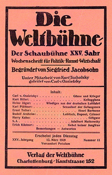 "Cover of ""Die Weltbühne"" (The World Stage), March 12, 1929."