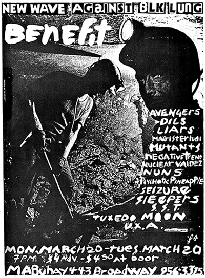 """Poster announcing """"Punks Against Black Lung: A Benefit Concert for Striking Coal Workers,"""" held at Mabuhay Gardens, San Francisco. March 1978."""