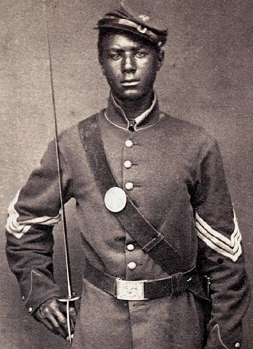 Andrew Jackson Smith of the 55th Massachusetts Colored Infantry. Smith was promoted to Color Sergeant before his discharge in 1865. He is shown here in his Union army uniform with Sergeant stripes. Source: Shiloh National Military Park.