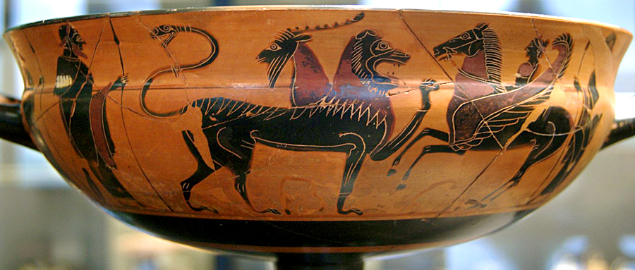 """""""Chimaera fighting Bellerophon."""" Ceramic cup, circa 575 BC. The black-figure style painting was created by the ancient Athenian artist today known as the """"Heidelberg Painter."""" Bellerophon was a hero monster slayer who captured and rode the winged horse named Pegasus."""