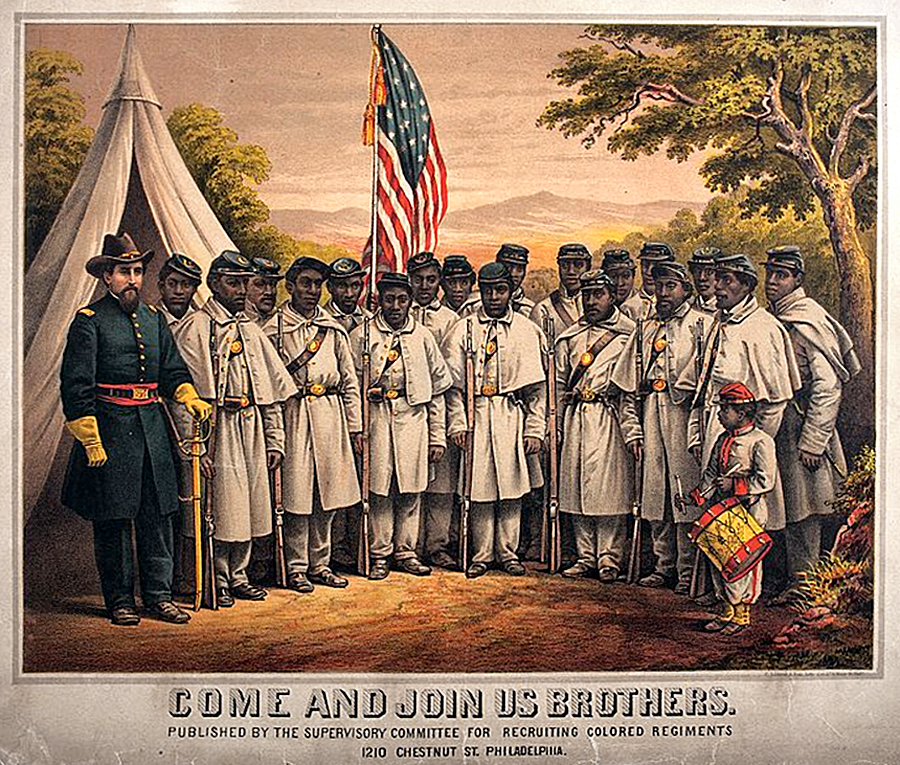 """""""Come and Join Us Brothers."""" January 1, 1865. Artist unknown. In Philadelphia the Supervisory Committee for Recruiting Colored Regiments issued this recruitment poster. Black recruits would be assigned to the Union army's """"United States Colored Troops"""" (USCT) regiments, which had the motto Sic Semper Tyrannis (Thus always to tyrants)."""