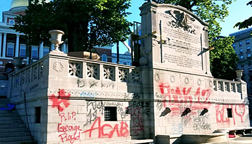Memorial to Robert Gould Shaw and the Massachusetts Fifty-Fourth Regiment, defaced with BLM graffiti, May 31, 2020. Source: Twitter