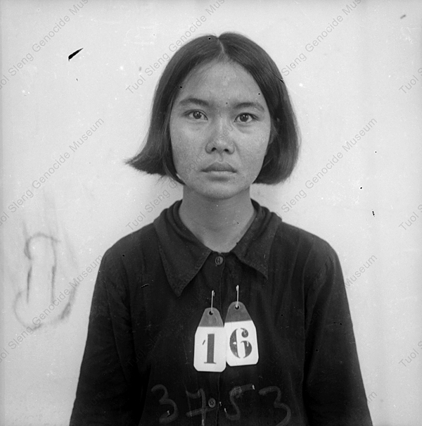 Unidentified female prisoner in Security Prison 21. Photograph taken sometime between 1975-79. Photo: Tuoi Sleng Genocide Museum.